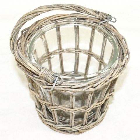 Hanging Handle Wicker & Glass Plant Basket